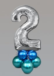 Inflated Medium Silver Chrome Green Number 2 Balloon Centrepiece
