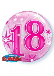 Inflated Bright Pink 18th Birthday Bubble Helium Balloon
