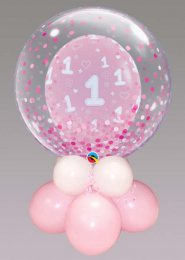 Inflated Pink 1st Birthday Double Bubble Balloon Centrepiece