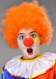 Circus Clown Orange Curly Pop Wig