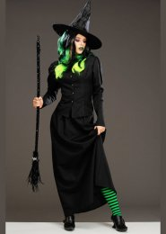 Womens Halloween Long Black Wicked Witch Costume