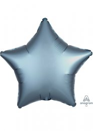 Inflated Steel Blue Satin Luxe Star Helium Balloon