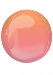 Inflated Orange and Pink Ombre Orbz Helium Balloon