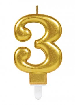 Gold Number 3 Birthday Cake Candle