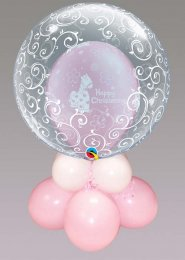 Inflated Pink Christening Double Bubble Balloon Centrepiece