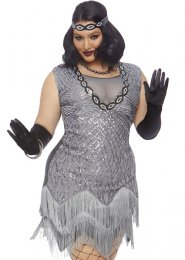 Plus Size Womens Deluxe 1920s Grey Flapper Costume