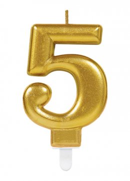 Gold Number 5 Birthday Cake Candle