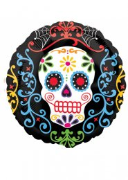 Inflated Day of The Dead Sugar Skull Helium Balloon