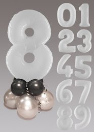 White Black and Silver Large Number Balloon Centrepiece