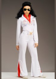 Womens Petite Size 1950s White Elvis Costume