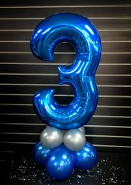 Metallic Blue Number 3 Balloon Centrepiece