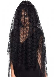 Halloween Gothic Bride Long Black Lace Veil with Flowers