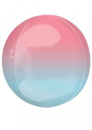 Inflated Blue and Pink Ombre Orbz Helium Balloon