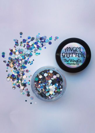 Iridescent Silver UV Holographic Disco Chunky Angel Glitter
