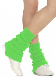 Flourescent Green Stirrup Dance Leg Warmers 60cm