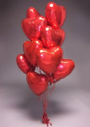 Inflated Valentines 12 Red Heart Balloon Foil Cluster