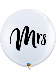 Inflated Large White Mrs 3 Foot Wedding Balloon