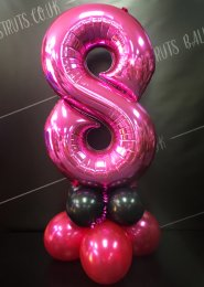 Metallic Pink Number 8 Balloon Centrepiece