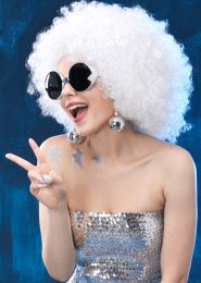 70s Disco Fancy Dress White Afro Wig