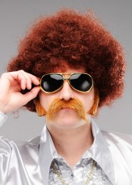 Mens 1970s Disco Brown Frizzy Afro Wig