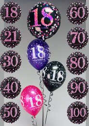Inflated Pink Glitz Birthday Helium Balloon Cluster