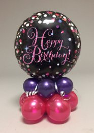Black And Pink Happy Birthday Balloon Centrepiece