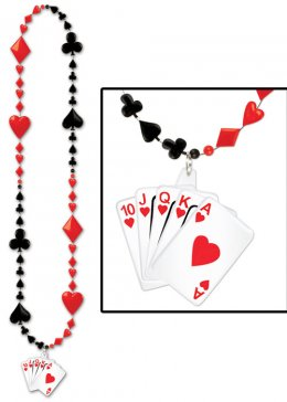 Casino Party Playing Card Beaded Necklace