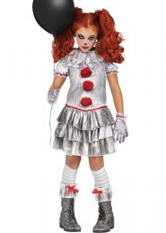 Kids Pennywise It Style Grey Carnevil Clown Girl Costume