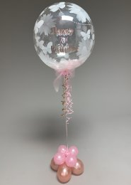 Personalised 2nd Birthday Feather Filled Bubble Balloon