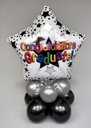 Silver Star Graduate Inflated Balloon Centrepiece