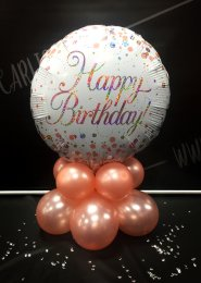 Rose Gold And White Birthday Balloon Centrepiece