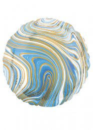 Inflated Blue and White Marble Foil Helium Balloon