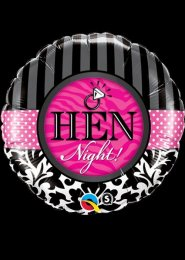Inflated Black and Pink Damask Hen Night Helium Balloon