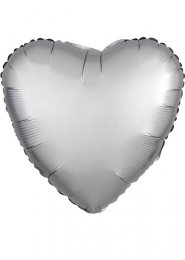 Inflated Platinum Silver Satin Luxe Heart Helium Balloon