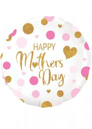 Inflated Pink and Gold Happy Mothers Day Helium Balloon