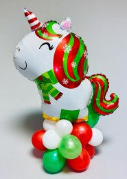 Inflated Christmas Unicorn Organic Balloon Centrepiece