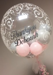 Personalised Pink and Grey Inflated Helium Bubble Balloon