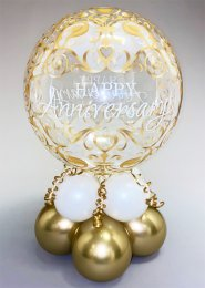 Gold Happy Anniversary Bubble Inflated Balloon Centrepiece