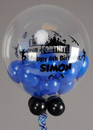 Personalised Blue Fortnite Birthday Bubble Balloon