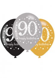 Black and Gold 90th Birthday Party Balloons Pk6