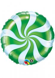 Inflated Christmas Green Candy Swirl Helium Balloon