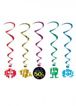 80s Icons Whirls Party Decorations Pk5