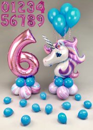 Pink and Turquoise Magical Unicorn Inflated Balloon Set