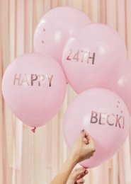 Rose Gold Customisable Pink Party Balloons Pk5