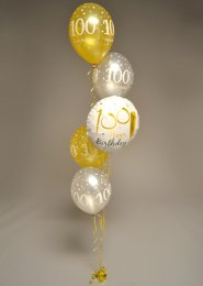 Inflated 5 Balloon 100th Birthday Cluster