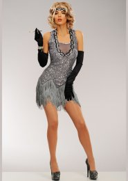 Womens Deluxe 1920s Grey Sequin Flapper Costume