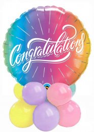 Ombre Rainbow Congratulations Inflated Balloon Centrepiece