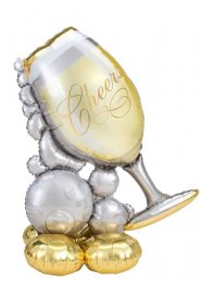 Inflated Cheers Bubbly Champagne Glass Airloonz Party Balloon