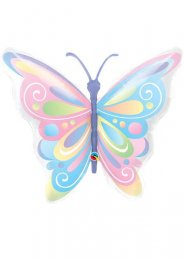 Inflated Large Pastel Rainbow Butterfly Helium Balloon