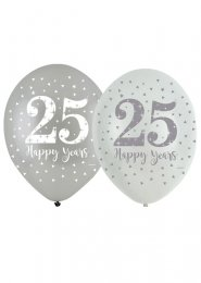 Silver 25th Anniversary Latex Party Balloons Pk6